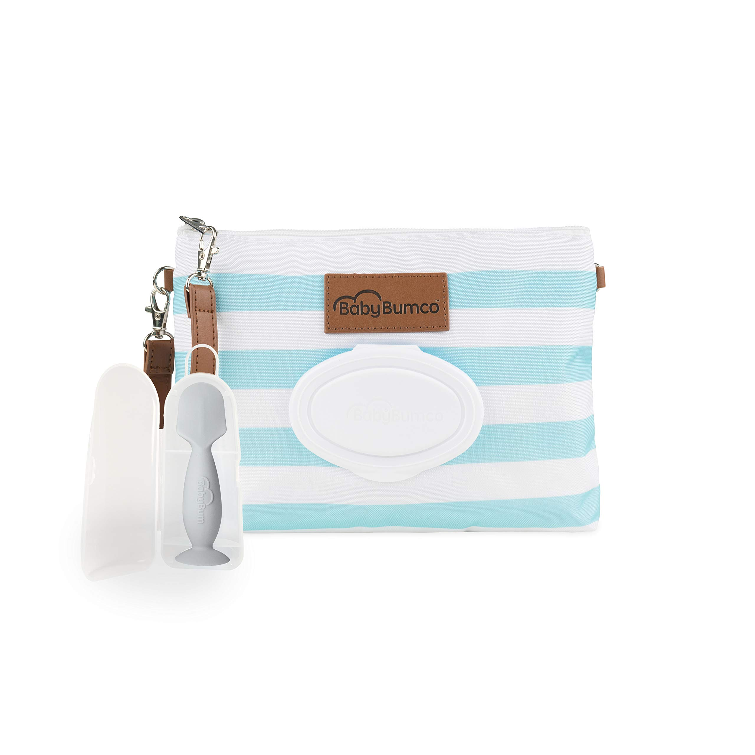 Diaper Clutch Bag and Mini Rash Cream Applicator with Travel Case, Soft Flexible Silicone - Water Resistant; Lightweight; Refillable Wipes Dispenser; Portable Changing Kit (Glossy Sky Blue + Gray)