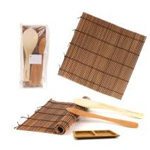BambooMN Sushi Making Kit 2x Carbonized Bamboo Rolling Mats, 1x Rice Paddle, 1x Spreader and 1x Compartment Sauce Dish | 100% Bamboo Mats and Utensils
