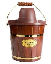 Nostalgia Electric Bucket Ice Cream Maker With Easy-Carry Handle, Makes 4-Quarts in Minutes, Frozen Yogurt, Gelato, Made From Real Wood
