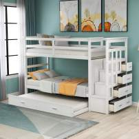 Twin Over Twin Bunk Bed with Trundle and Staircase, Wood Twin Bunk Bed Frame with 4 Storage Drawers and Guardrails, No Box Spring Needed (White)