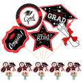 Whaline 25 Pcs Graduation Centerpiece Sticks 2020 Congrats Photo Booth Props Table Toppers with Glue Points and Bamboo Sticks, Black and Red Congrats Party Decoration Supplies Set