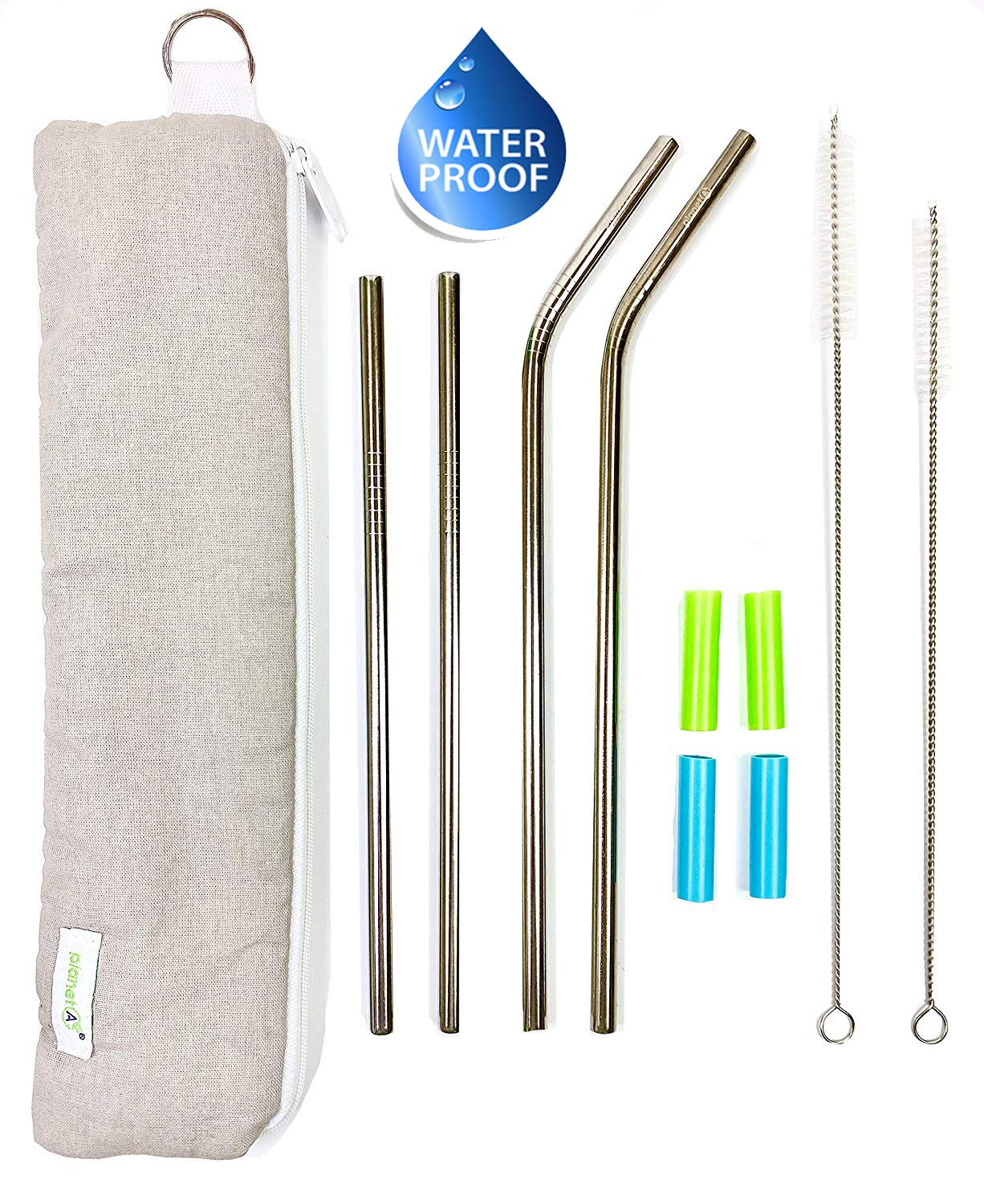 Eco-Friendly Reusable Stainless Steel Straws With Cotton Lightweight Waterproof Travel Pouch, Silicone Tips, and Long Straws That Will Fit 20 and 30 Ounce Tumblers