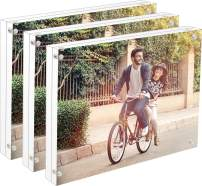 Cq acrylic 3Pack 4x6 Acrylic Magnetic Picture Frame,Square Clear Floating Double Sided Plexiglass Magnet Lucite Frames for Family Baby Wedding Certificate and Diploma Frame,Pack of 1