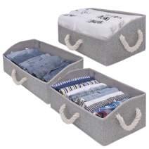 StorageWorks Closet Baskets, Cotton Fabric Baskets for Closet Shelves, Foldable Trapezoid Storage Bins, Gray, 3-Pack