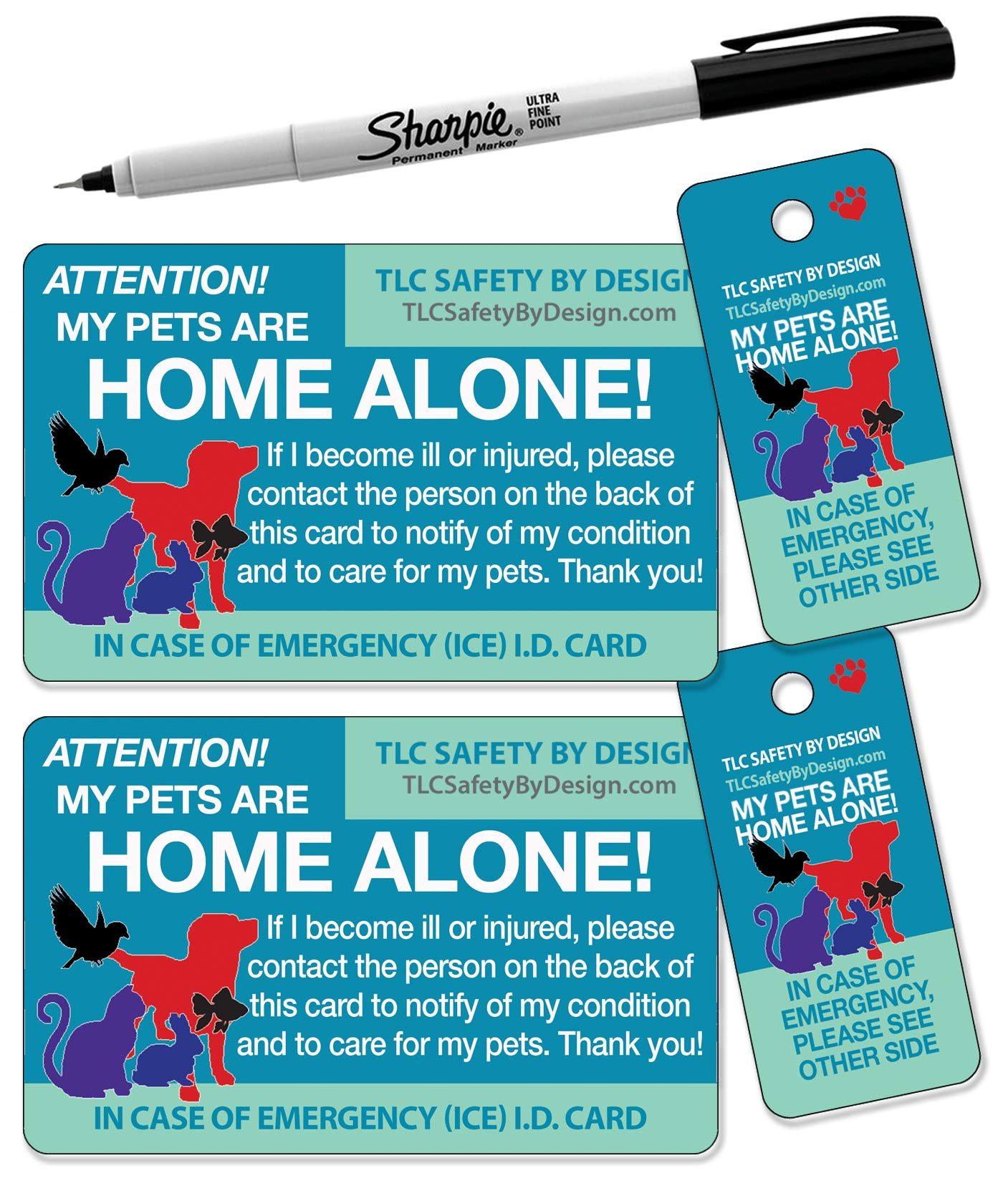 TLC Safety By Design Updated Trademarked My Pets are Home Alone Alert Emergency Medical ICE ID Plastic Contact Wallet Card and Key Tag Dogs Cats with Emergency Contact Call Card
