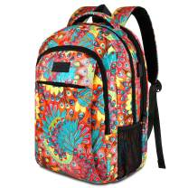 JEMIA Multipurpose Collection 15.6 Laptop Holder, USB Port, Anti-Theft Pocket Backpack (Peacock Feather, Polyester)