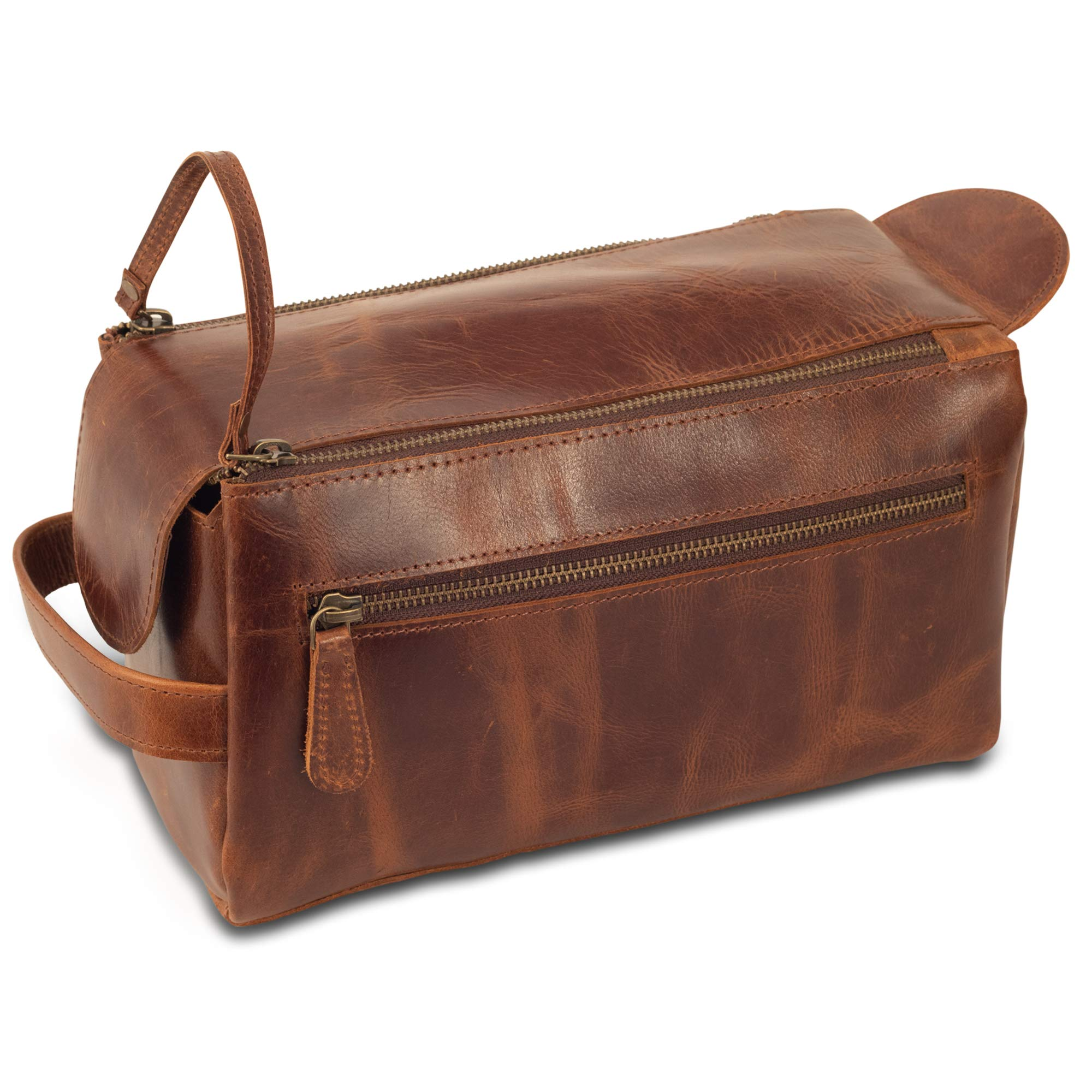 LARGE Leather Toiletry Bag - Stylish, Practical and Larger Than Other Bags - This Handmade Vintage Dopp Kit for Men and Women is Sturdy & Water Resistant - Store All Your Travel Toiletries in Style