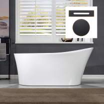 "WOODBRIDGE 59"" Acrylic Freestanding Bathtub Contemporary Soaking Tub with Oil Rubbed Bronze Overflow and Drain B0083-ORB-Drain &O,White"