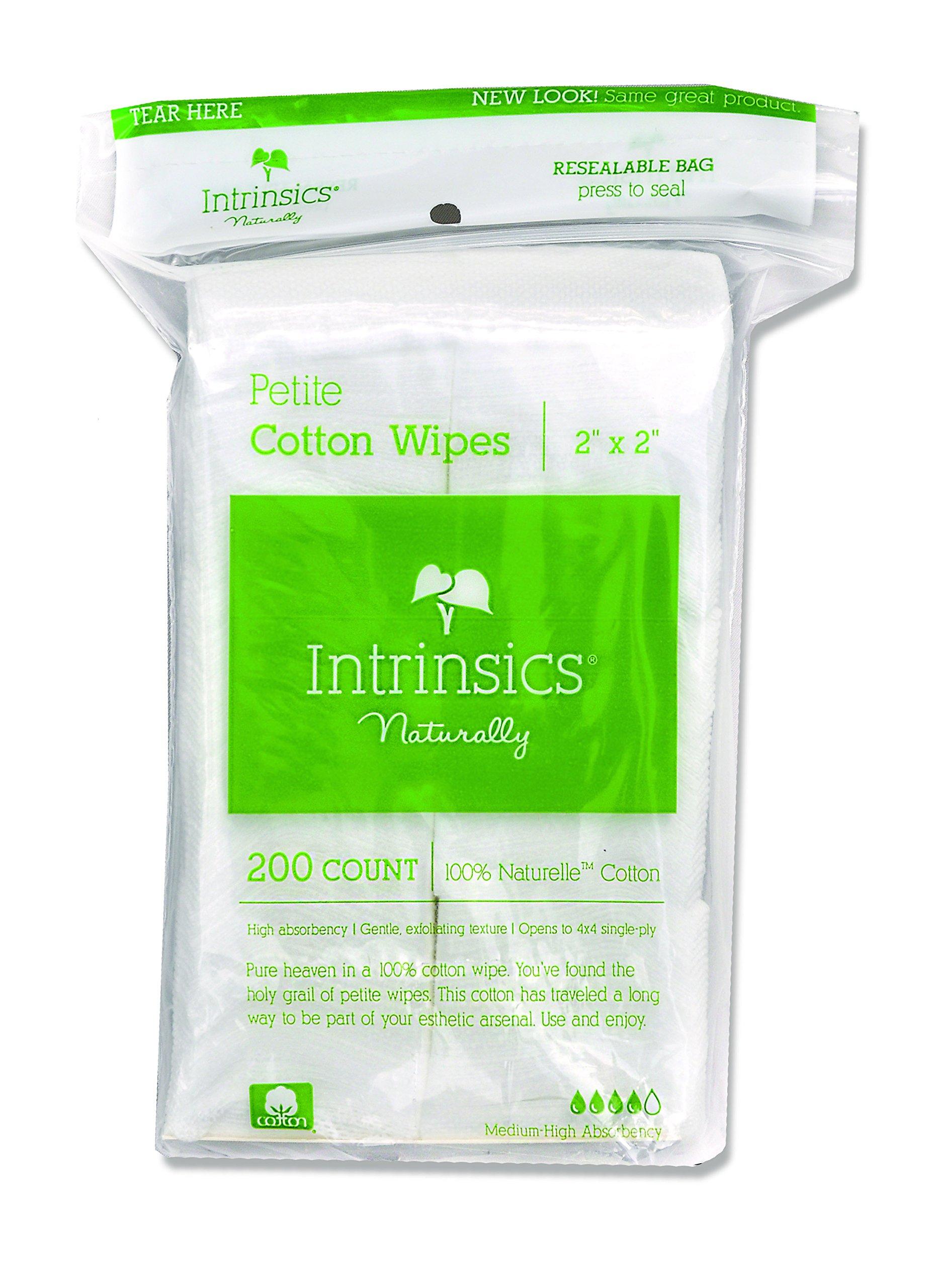 "Intrinsics Petite Cotton Wipes - 2""x2"", 4-ply 100% Cotton, 200 Count"