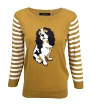 YEMAK Women's Cute Cat Dog Animal Patterned Crewneck Casual Pullover Sweater