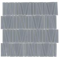 MTO0161 Modern Trapezoid Grey Glossy Glass Mosaic Tile