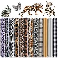 "Heflashor 12 Sheets Leopard Heat Transfer Vinyl HTV Rolls,12"" x 10"",Iron-on Vinyl Bundle Plaid Zebra Pattern for T-Shirts Clothes Bag,DIY Supplies Craft Gifts(Leopard Multi-Color Series)"