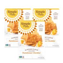 Simple Mills Almond Flour Crackers, Farmhouse Cheddar, Gluten Free, Flax Seed, Sunflower Seeds, Corn Free, Better for you Snacks, Made with whole foods, 3 Count, (Packaging May Vary)