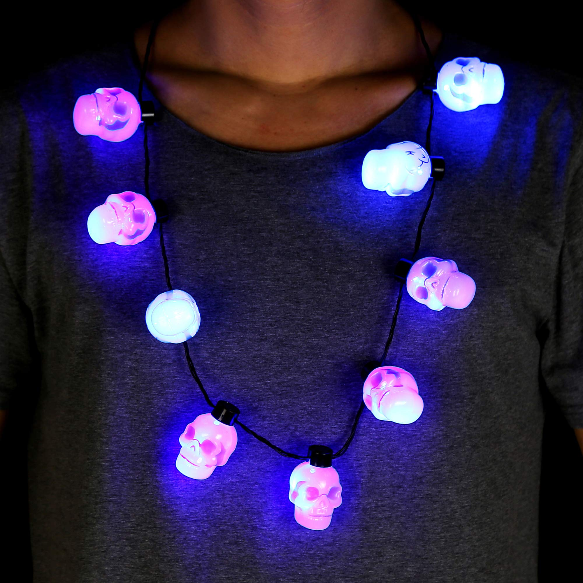 Fun Central LED Skull Necklace - Halloween Party Supplies for Kids and Adults