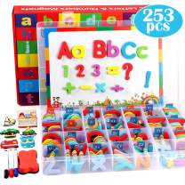 253 PCS Magnetic Letters Numbers with Magnetic Board and Storage Box Foam Alphabet ABC Refrigerator Magnets Educational Toys for Kids Children Toddlers