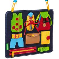 Busy Board for Toddlers - Learn to Dress - Basic Skills Toddler Activity Boards - Teaches Fine Motor Skills for Young Children Ages 2, 3, 4, 5 - Sensory Montessori Toys - for Car or Airplane Travel