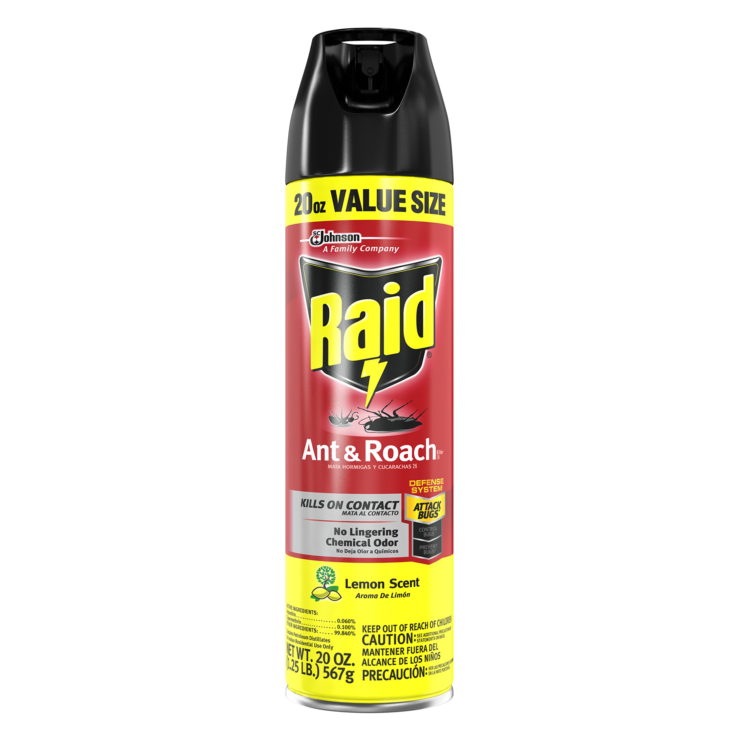 Raid Ant & Roach Killer Spray for Listed Bugs, Insect, Spider, For Indoor Use, Lemon Scent, 20 Oz, Pack of 1