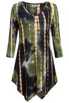 Ninedaily Tie Dye Tunic 3/4 Sleeve V Neck Asymmetrical Womens Dressy Blouse Tops