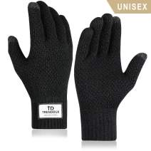 TRENDOUX Winter Touch Screen Gloves - Knit Glove for Men Women - Thermal Lining - Elastic Cuff - Warm in Cold Weather