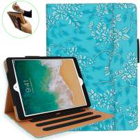 iPad 6th Generation Cases, iPad Air 2 Case, iPad Air Case with Pencil Holder - iPad 9.7 inch 2018 2017 Case - Hand Strap, Auto Sleep Wake, Multi-Angle Stand - A1822 A1823 A1474 A1475(Embossed Flower)