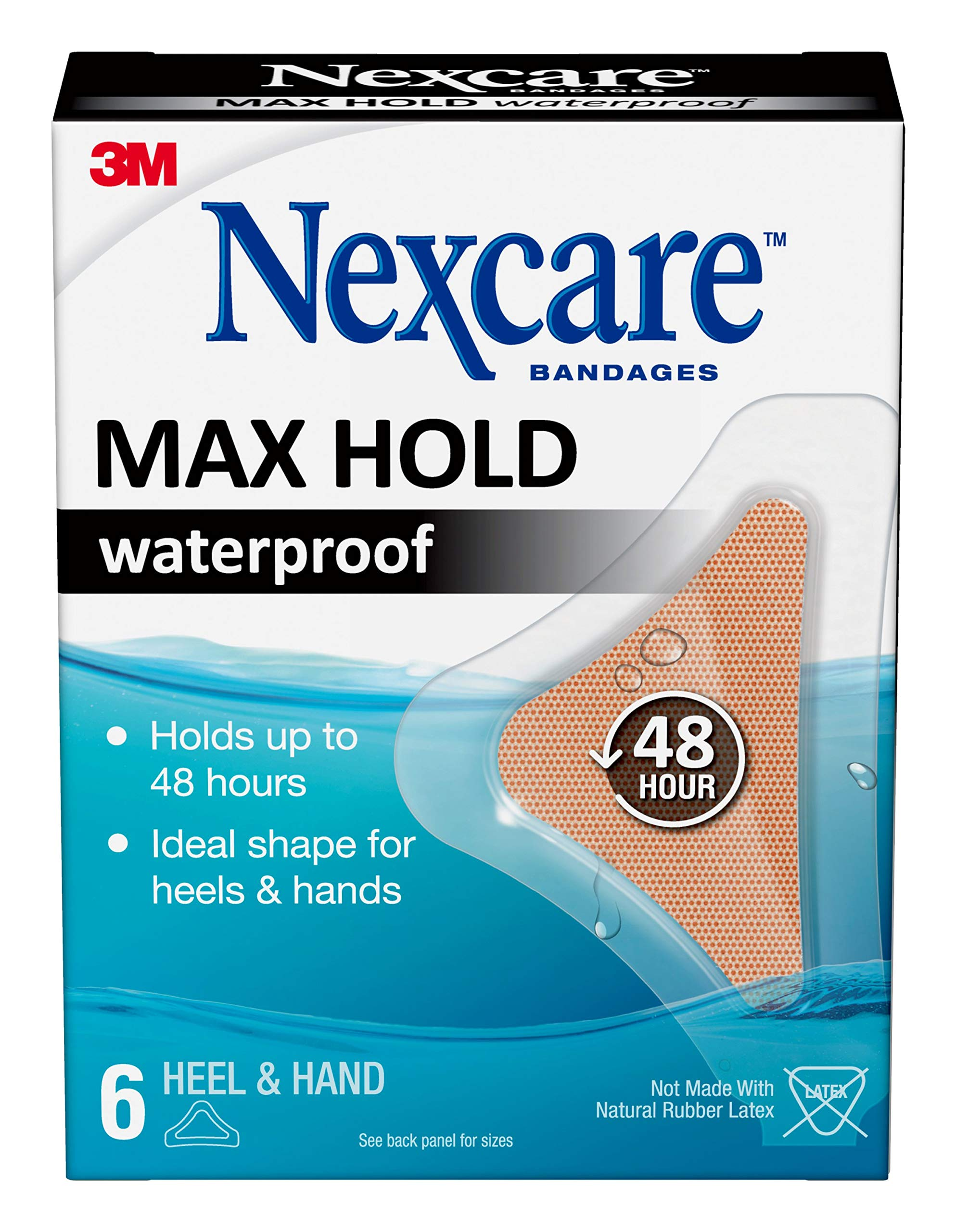 Nexcare Max Hold Waterproof Bandages, Hand/Heel, 6Count