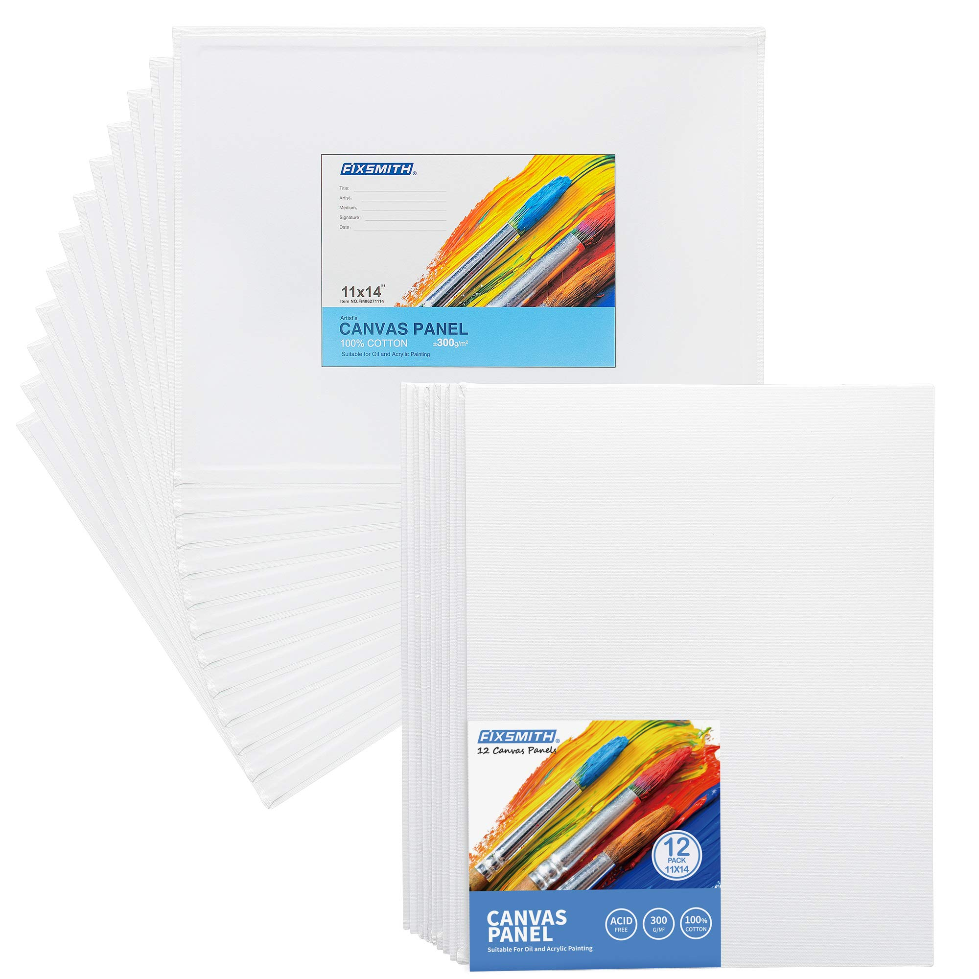 FIXSMITH-Painting-Canvas-Panels,11x14 Inch Canvas Board Super Value 12 Pack Canvases,100% Cotton,Primed Canvas Panel,Acid Free,Artist Canvas Boards for Professionals,Hobby Painters,Students & Kids.