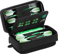 Casemaster Plazma Pro, 6 Dart Case for Soft and Steel Tip Darts, Features Large Front Mobile Device Pocket, Built-In Storage Tubes and Pockets for Flights, Tips, Shafts, and Personal Items