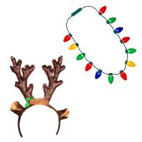 Windy City Novelties Ugly Sweater Christmas Party Kit - Holiday Hat + LED Christmas Bulb Necklace Combo (LED Reindeer Headband + Necklace)