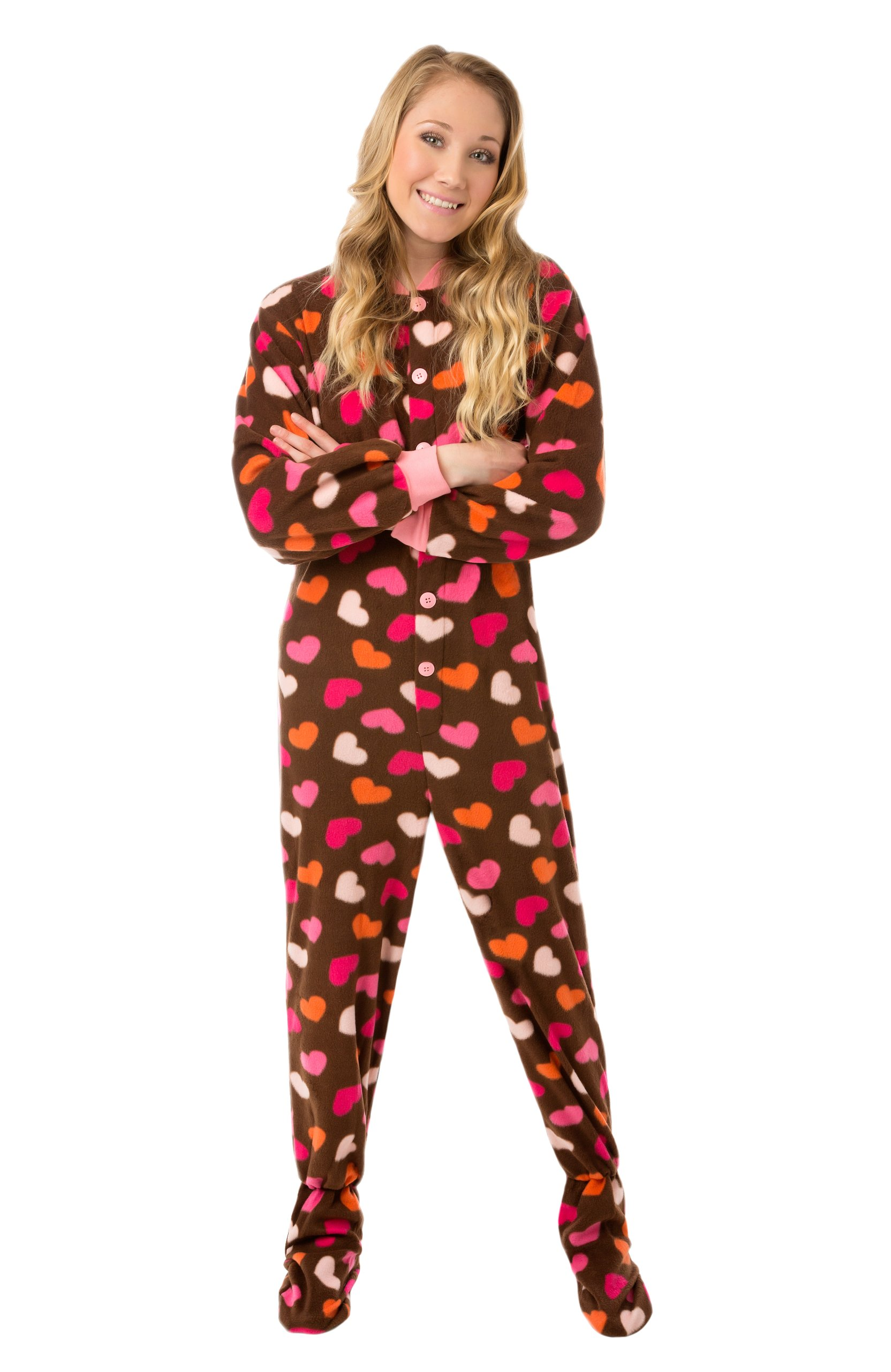 Brown Fleece Pink Hearts Womens Footed Pajamas Onesie with Drop seat