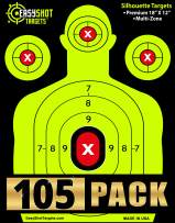 105-PACK EasyShot Shooting Targets 18 X 12 inch. Shots are Easy to See with Our High-Vis Neon Yellow & Red Colors. Thick Silhouette Paper Sheets for Pistols, Rifles, BB Guns, Airsoft and More.