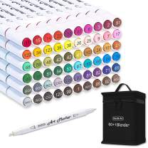 Shuttle Art 61 Colors Dual Tip Art Markers, 60 Colors plus 1 Blender Permanent Marker Pens Highlighters with Case Perfect for Illustration Adult Coloring Sketching and Card Making