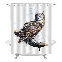 MitoVilla Owl with Sharp Eyes Shower Curtain Set with Hooks, Wildlife Predator in The Snowy Day Watercolor Image, Animal Bathroom Accessories, No Liner Needed, Personalised Gifts, 78 in Long, Multi