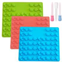 Set of 3 Mini Dinosaur Silicone Candy molds and Gummy Bear Mold, Non-Stick Gummies Chocolate Gelatin Tray – 3 Bonus Droppers (Blue-Green-Red)