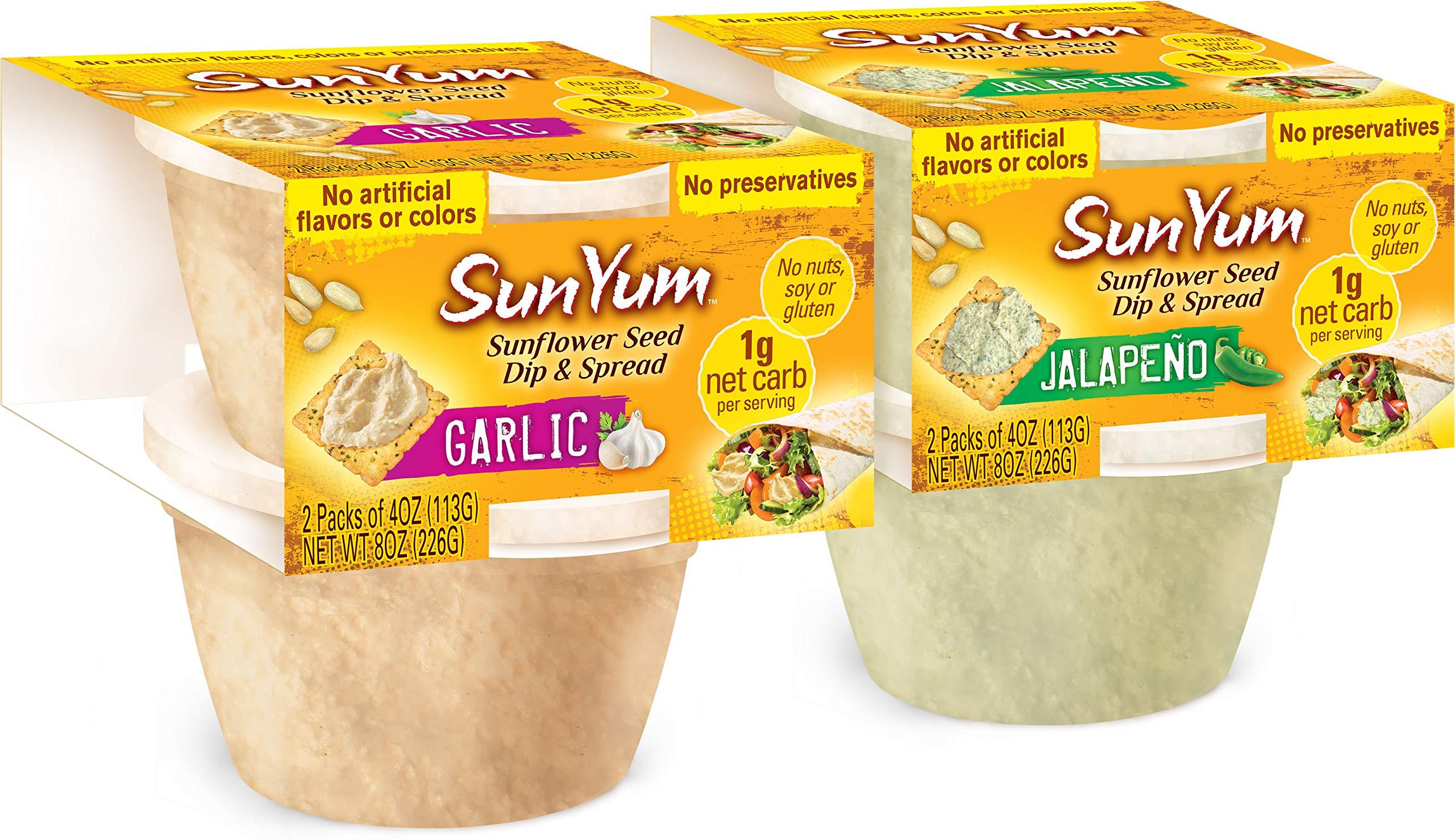 SunYum Sunflower Seed Dip & Spread - Low Carb Hummus Alternative - Keto Snacks, 2 Packs - 4 Cups (Mixed)