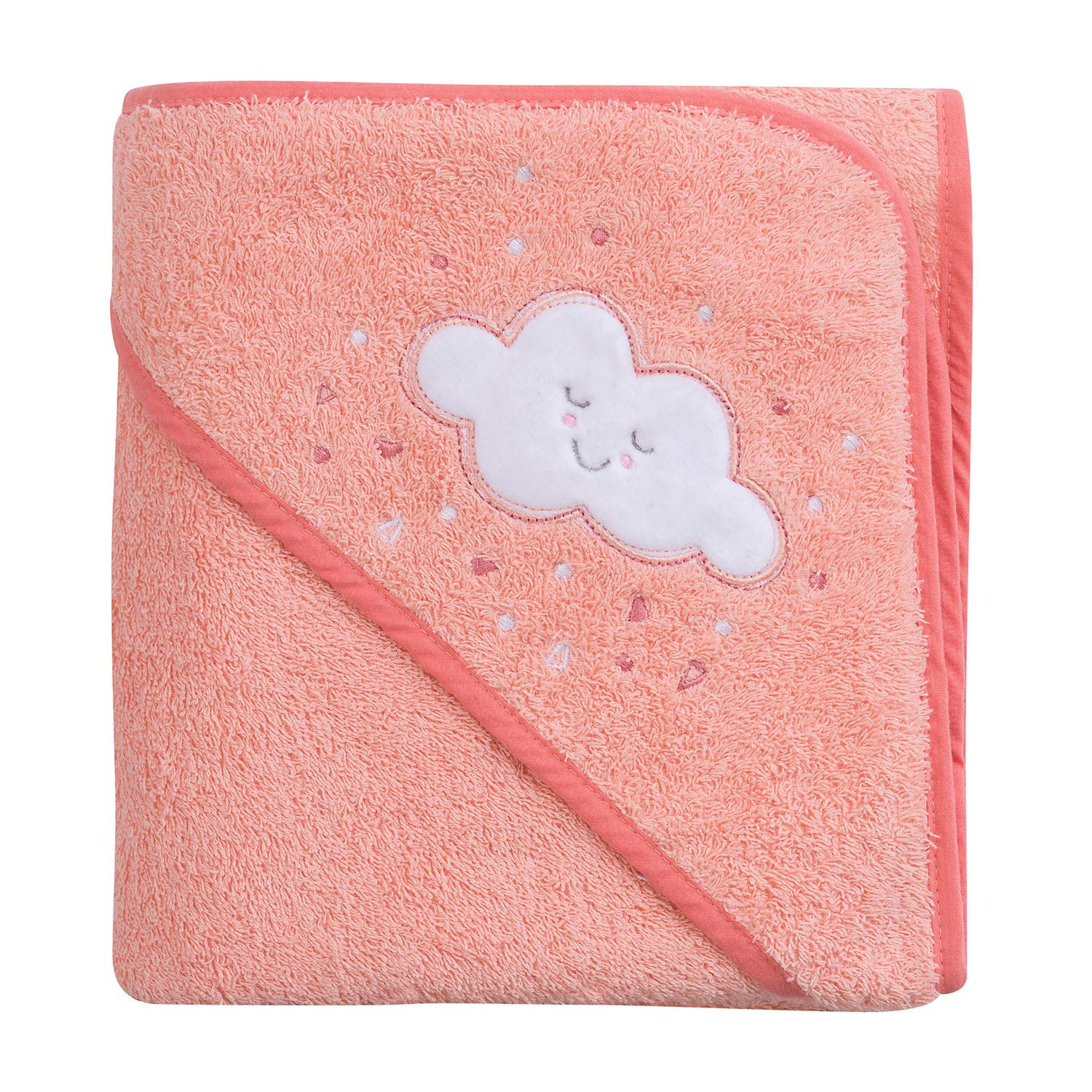 ClevaMama Apron Hooded Baby Towel - Bath Towel With Hood, Soft Cotton Bath Wrap, Coral