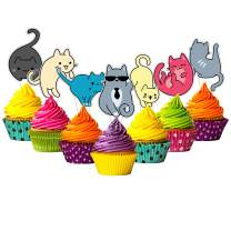 24-pack Food-safe and Child-safe Cake Toppers by Citadel Black - No Assembly Required, 100% Food-safe and Recyclable, Cupcake and Cake Toppers for Birthday Parties and Events (Adorable Cats)