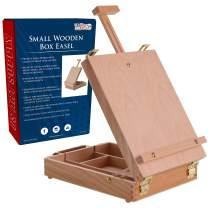 U.S. Art Supply Newport Small Adjustable Wood Table Sketchbox Easel, Premium Beechwood - Portable Wooden Artist Desktop Storage Case - Store Art Paint, Markers, Sketch Pad - Student Drawing, Painting