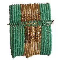 Touchstone New Indian Bollywood Beautiful Beaten Metal Beads Wrist Enhancer Openable Cuff Bracelet in Gold Tone for Women.