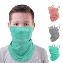 MoKo Kids Neck Gaiter Face Mask, 3 Pack Scarf Bandana Mask with Ear Loops for Kids Balaclava UV Sun Protection Dust Wind Proof Children Outdoors Cycle Skating Bandanas Headband for Girls Boys
