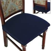 BUYUE Dining Room Chair Covers Stretch Jacquard Chairs Easy Installation Upholstered Armless Chair Protectors, Rear-Covered, Set of 4,Navy Blue