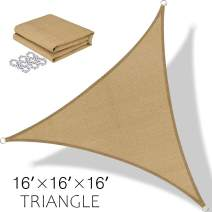 BOLTLINK Triangle Sun Shade Sail 16'x 16'x 16'Canopy UV Block for Patios Outdoor Backyard Garden Deck -Sand