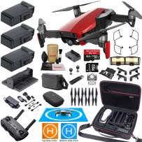 DJI Mavic Air Fly More Combo (Flame Red) Elite Bundle with 3 Batteries, 4K Camera Gimbal, Professional Carrying Case and Must Have Accessories