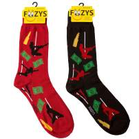 Foozys Mens Crew Socks | Late Night Party & Up to No Good Novelty Socks | 2 Pair