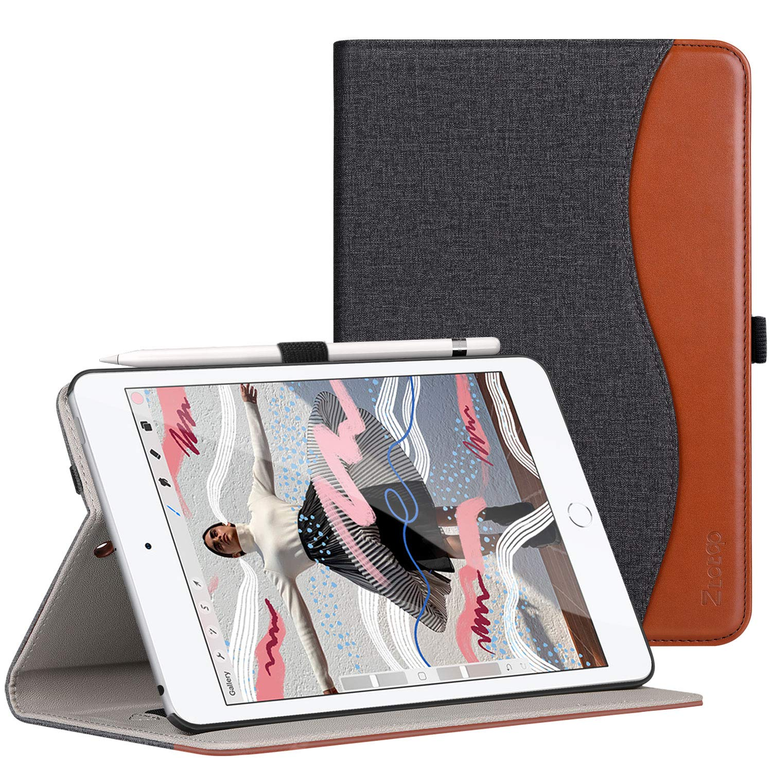 Ztotop for iPad Mini 5 Case, Leather Folio Stand Protective Case Smart Cover with Multi-Angle Viewing, Paperwork Card Pocket, Functional Elastic Strap for iPad Mini 5th Gen 2019 - Dual Color
