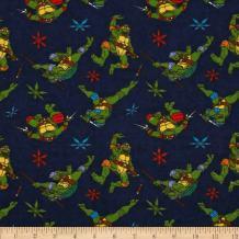 Springs Creative Products Navy Nickelodeon Teenage Mutant Ninja Turtles Flannel Cowabunga Toss Fabric by The Yard