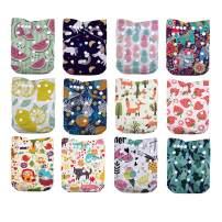 LilBit Baby Cloth Diapers,One Size Adjustable Reusable Pocket Cloth Diaper 12pcs Diapers + 12pcs Charcoal Bamboo Inserts+1 Wet Bag, (color5)