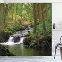 """Ambesonne Nature Shower Curtain, Stream Flowing in Forest Mossy Rocks Tree Foliage Splash Summertime Hiking, Cloth Fabric Bathroom Decor Set with Hooks, 84"""" Long Extra, Green Brown"""