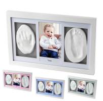 Deluxe Size Baby Handprint and Footprint Kit for Newborn Girls and Boys | Adorable Baby Shower Gift for Registry | Elegant Baby Keepsake Photo Frame with Non-Toxic Mold Free Clay