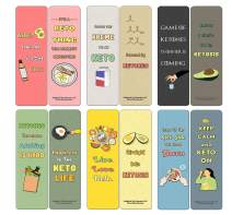 Creanoso Funny Keto Bookmarks Cards (30-Pack) - Assorted Designs for Children - Classroom Reward Incentives for Students - Stocking Stuffers Party Favors & Giveaways for Teens & Adults