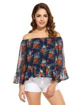 Ekouaer Women's Floral Off Shoulder Bell Sleeve Shirt Loose Casual Blouses Tops